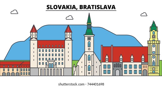 Slovakia, Bratislava outline city skyline, linear illustration, banner, travel landmark, buildings silhouette,vector