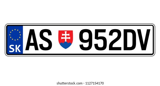 Slovakia car plate. Vehicle registration number