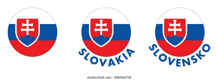 Slovakia coat of arms in circle. Version with name of country below in English and Slovak language.