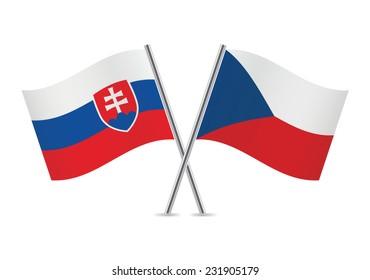 Slovakia and Czech flags. Vector illustration.