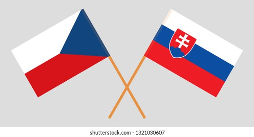 Slovakia and Czech Republic. The Slovakian and Czech flags. Official colors. Correct proportion. Vector illustration