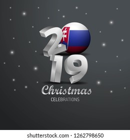 Slovakia Flag 2019 Merry Christmas Typography. New Year Abstract Celebration background