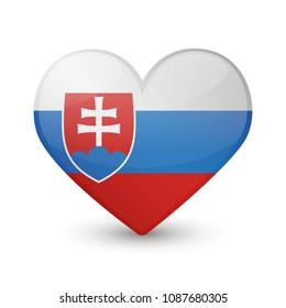 Slovakia Flag Heart Love Emoji Icon Object Symbol Gradient Vector Art Design Cartoon Isolated