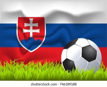 Slovakia flag and soccer ball