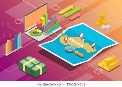 slovakia isometric business economy growth country with map and finance condition - vector