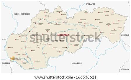 Slovakia Map Stock Vector (Royalty Free) 166538621 - Shutterstock