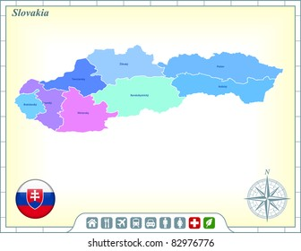 Slovakia Map with Flag Buttons and Assistance & Activates Icons Original Illustration