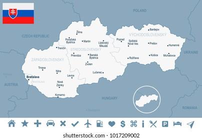 Slovakia map and flag - High Detailed Vector Illustration