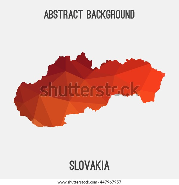 Slovakia map in geometric polygonal,mosaic style.Abstract tessellation,modern design background. Vector illustration EPS8