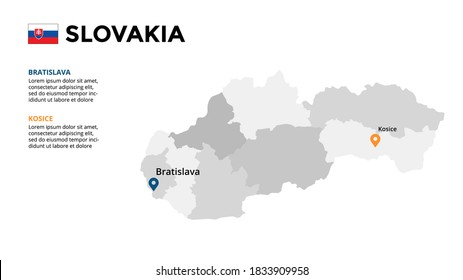 Slovakia vector map infographic template. Slide presentation. Global business marketing concept. Color Europe country. World transportation geography data.