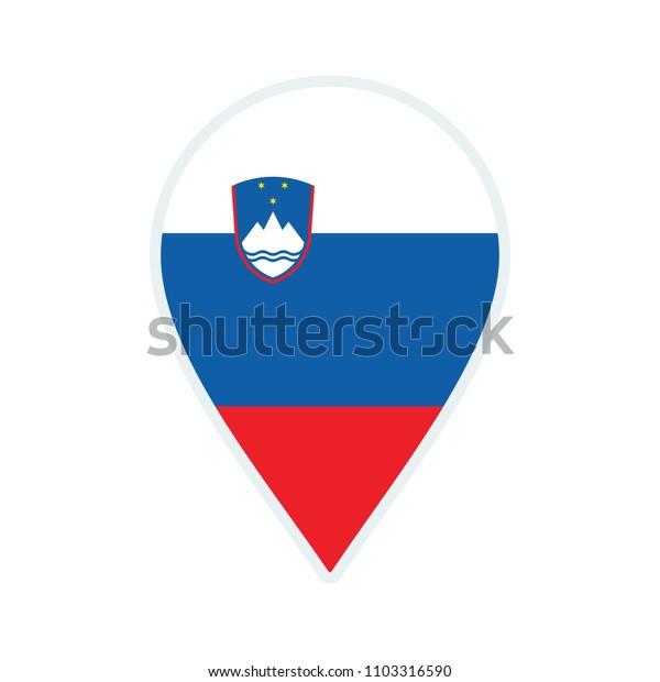 Slovenia flag icon. Travel icon. Travel destination of Slovenia. Slovenia badge. Flag badge.