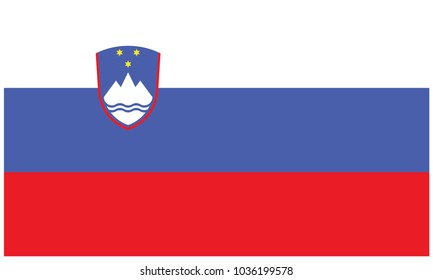 Slovenia flag, official colors and proportion correctly. National Slovenia flag
