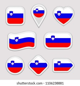 Slovenia flag vector set. Slovenian national flags stickers collection. Isolated icons. Traditional colors. Web, sports pages, patriotic, travel, school, geographic, cartographic design elements