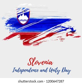 Slovenia Independence and Unity day holiday background. Abstract grunge watercolored flag of Republic of Slovenia. Template for national holiday background, banner, poster, etc.