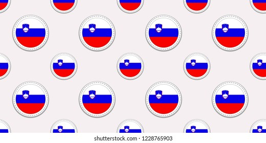 Slovenia round flag seamless pattern. Slovenian background. Vector circle icons. Geometric symbols. Texture for sports pages, competition, games, travelling design elements. patriotic wallpaper