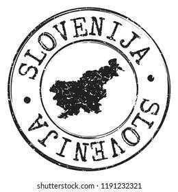 Slovenia Silhouette Postal. Passport Stamp Round Vector Icon. Design Map Postmark.
