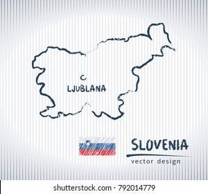 Slovenia vector chalk drawing map isolated on a white background