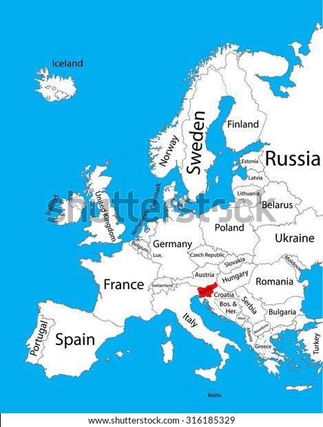 slovenia on a map of europe Slovenia Vector Map Europe Vector Map Stock Vector (Royalty Free