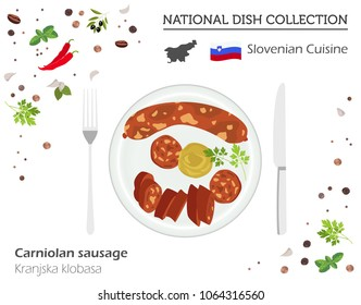 Slovenian Cuisine. European national dish collection. Carniolan sausage isolated on white, infographic. Vector illustration