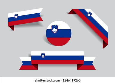 Slovenian flag stickers and labels set. Vector illustration.