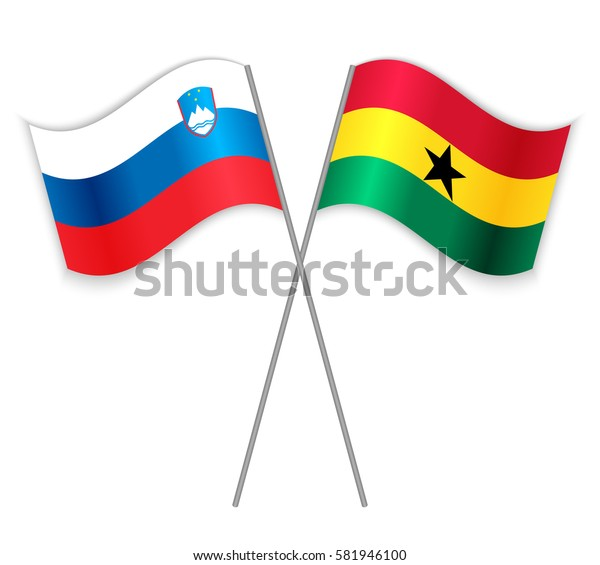 Slovenian and Ghanaian crossed flags. Slovenia combined with Ghana isolated on white. Language learning, international business or travel concept.