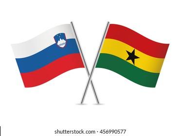 Slovenian and Ghanaian flags. Vector illustration.