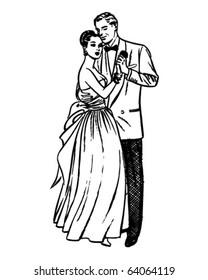 Slow Dance - Retro Clipart Illustration