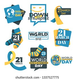 Slow development and mental disorder down syndrome day isolated icon charity and aid disabled children help campaign medicine and healthcare tolerance and solidarity emblem or logo ribbon and sock