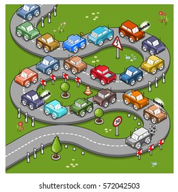 Slow driver stops traffic on winding street (isometric cartoon)