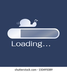 Too slow loading icon, metaphor to slower than snail. Vector illustration.