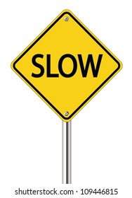 Slow sign on yellow road label