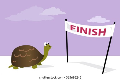 Slow, but sure. Cartoon tortoise at the finish line, vector illustration, no transparencies