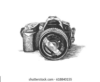 SLR camera, Hand Drawn Sketch Vector illustration.