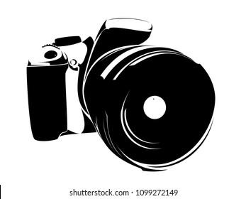 SLR camera, logo black on a white background
