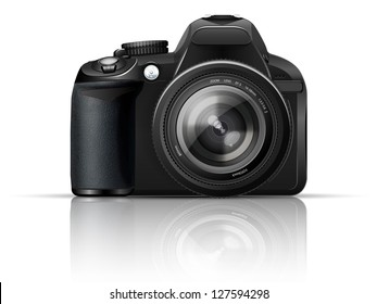 SLR camera on a white background with the reflection of the