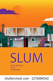 Slum with tilted electric pole on sky background,cover book.
