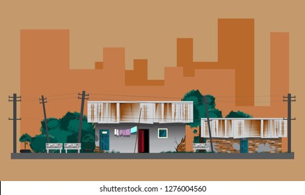Slum with tilted electric pole on building background.
