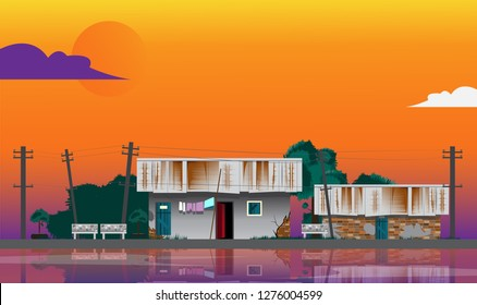 Slum with tilted electric pole on sky background.