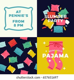 Slumber or pajama party printable template set. Trendy flat design minimalistic banner, poster or flyer template on sleepover party