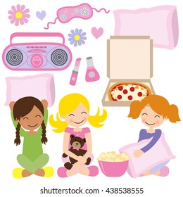 Slumber and pajama party vector illustration