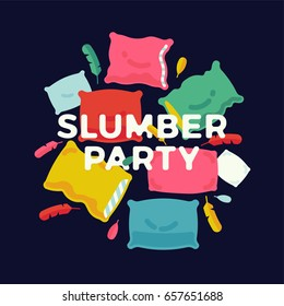 Slumber party banner, poster or flyer template with colorful pillows and feathers. Ideal for invitation cards and other printables