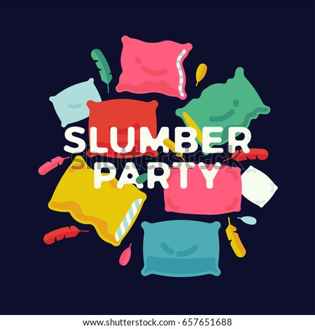 Slumber Party Banner Poster Or Flyer Template With Colorful Pillows And Feathers Ideal For