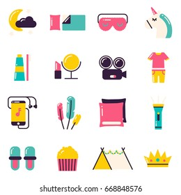 Slumber Party Icons. Pajama party or sleepover symbols and items. Ideas for girls parties