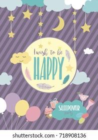Slumber party invitation card. Birthday invitation card. Vector illustration