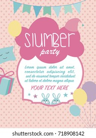 Slumber party invitation card. Birthday invitation card. Vector illustration