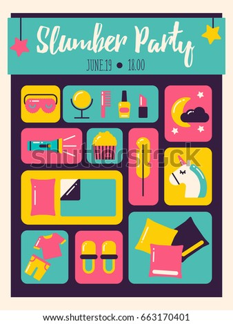 Slumber Party Invitation Modern Poster Pajama Image Vectorielle De