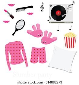 Slumber party invitation symbols, elements. Sleepover. Pajama home slippers popcorn music mirror and comb pillow