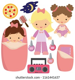 Slumber party vector cartoon illustration