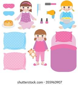Slumber party vector illustration