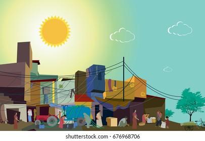 Slums,poor cityscape
